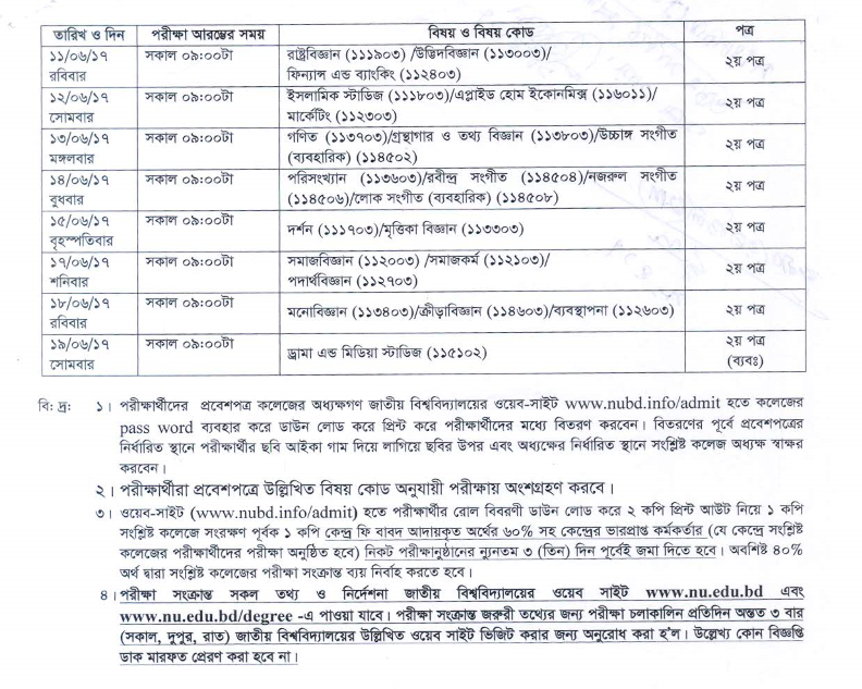 Degree First Year Exam Routine 2017 Has Been Published Toady