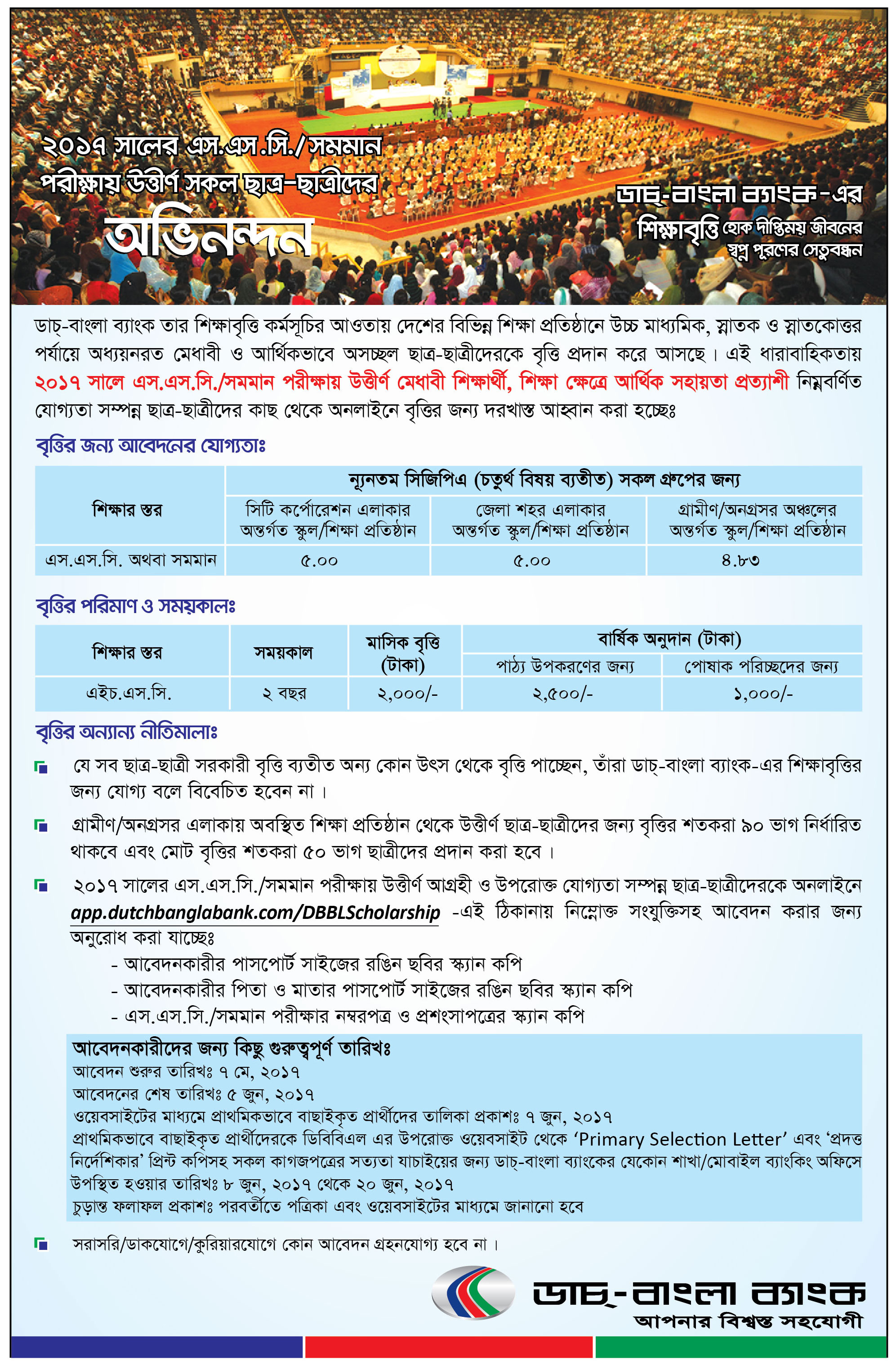 Dutch Bangla Bank SSC Scholarship Result 2017