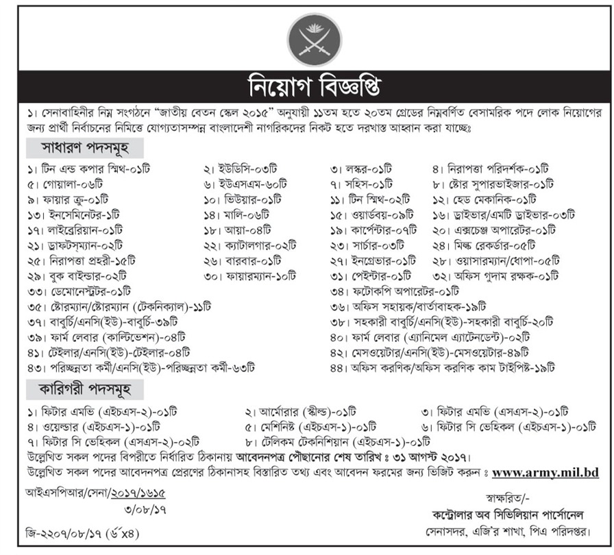 Bangladesh Army New Job Circular 2017