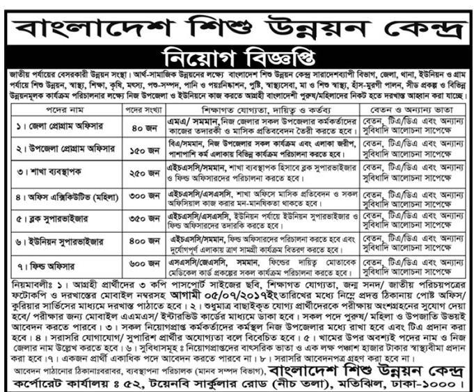 Bangladesh Shishu Unnayan Kendra Job Circular 2017