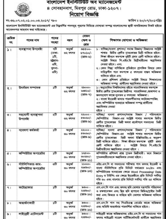 Bangladesh Institute Of Management Job Circular 2017