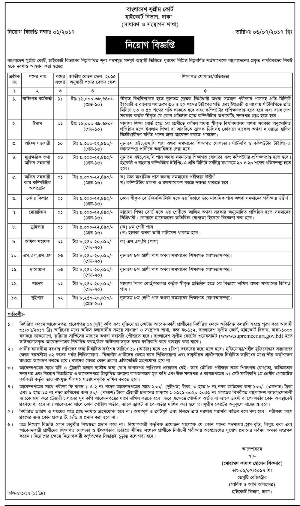 Bangladesh Supreme Court Latest Job Circular 2017