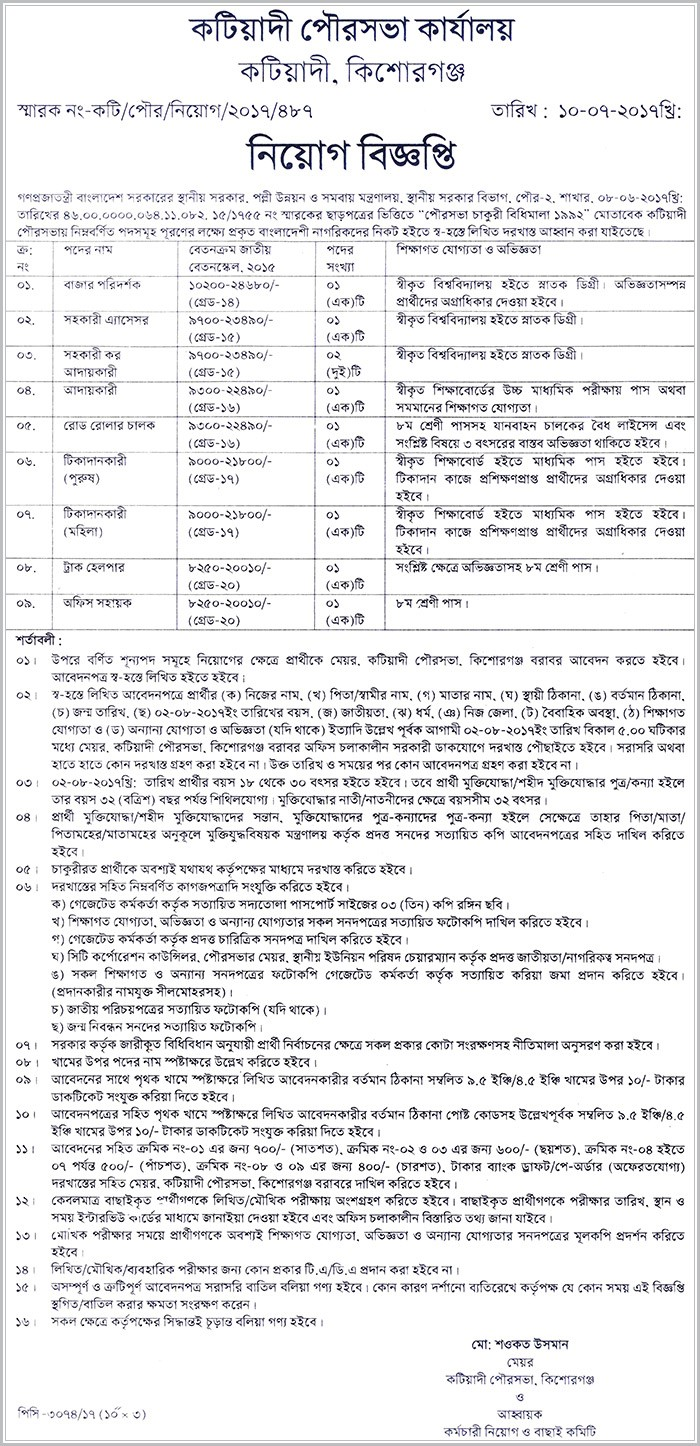 Municipality office job circular 2017