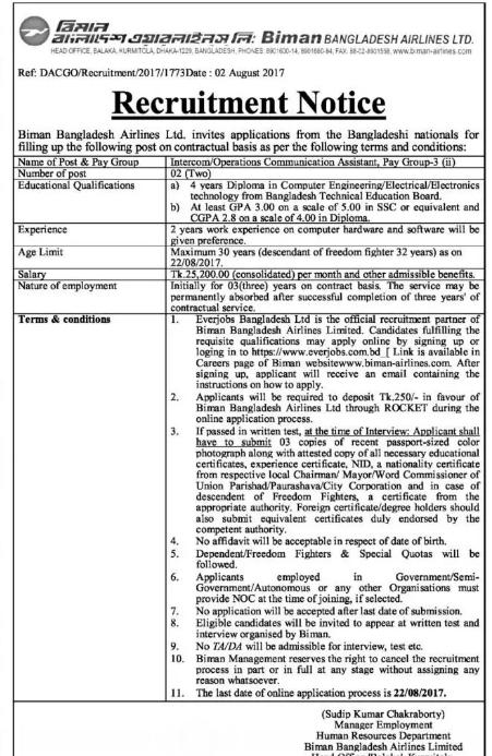 Biman Bangladesh Airlines Limited Job Circular 2017