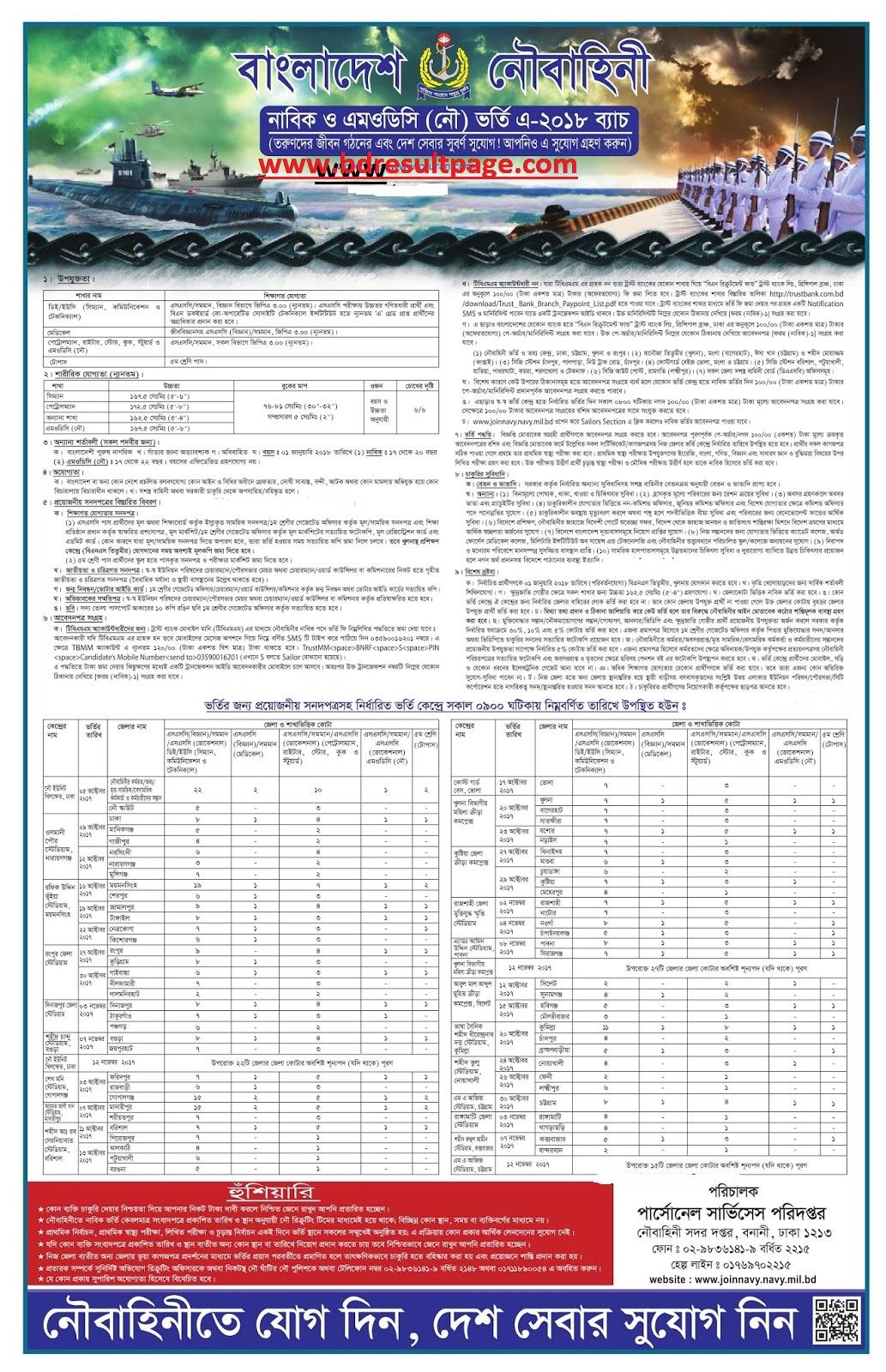Bangladesh Navy Job OpportunitySeptember 2017