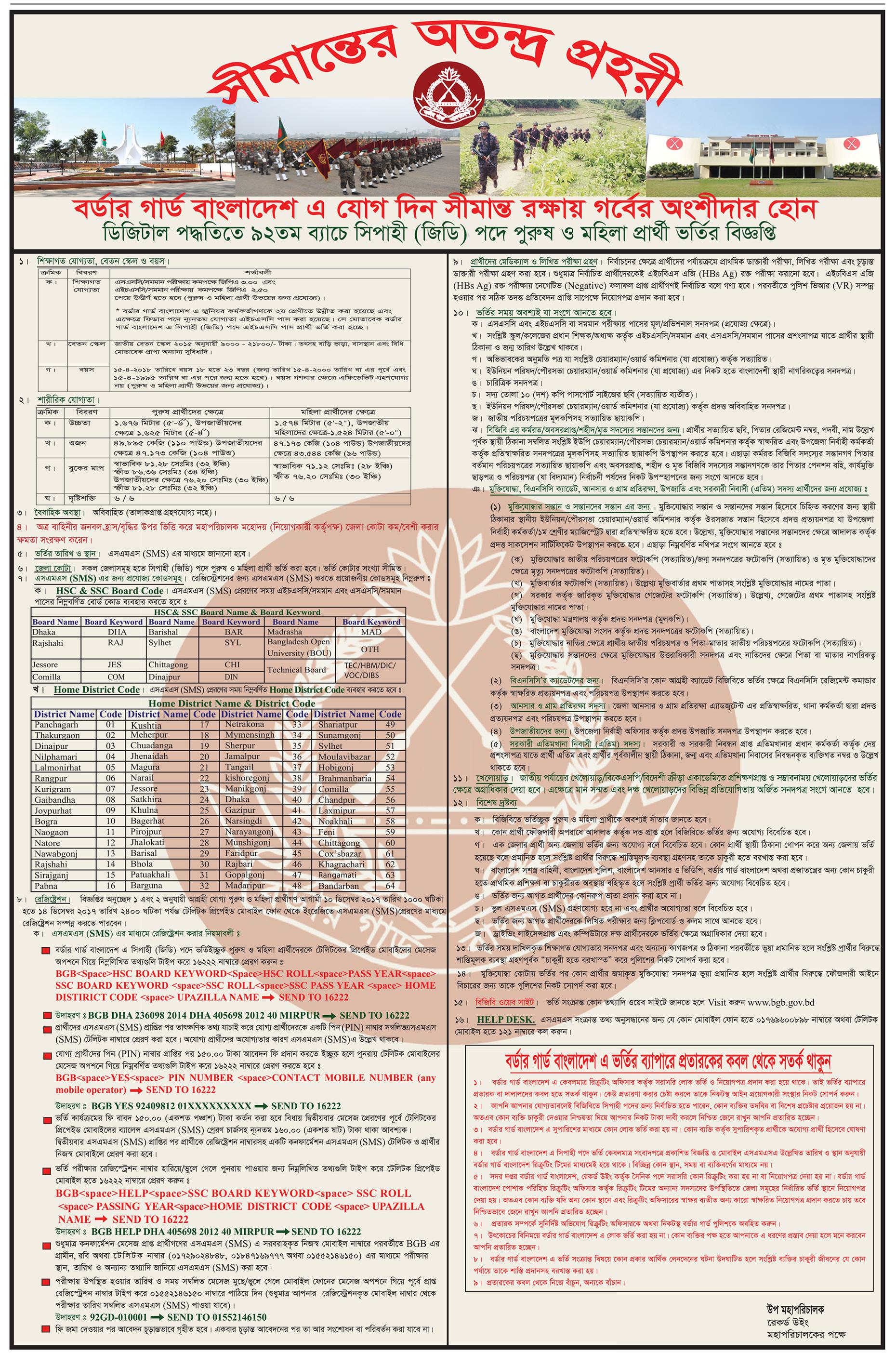 Border Guard Bangladesh Job Circular 2017