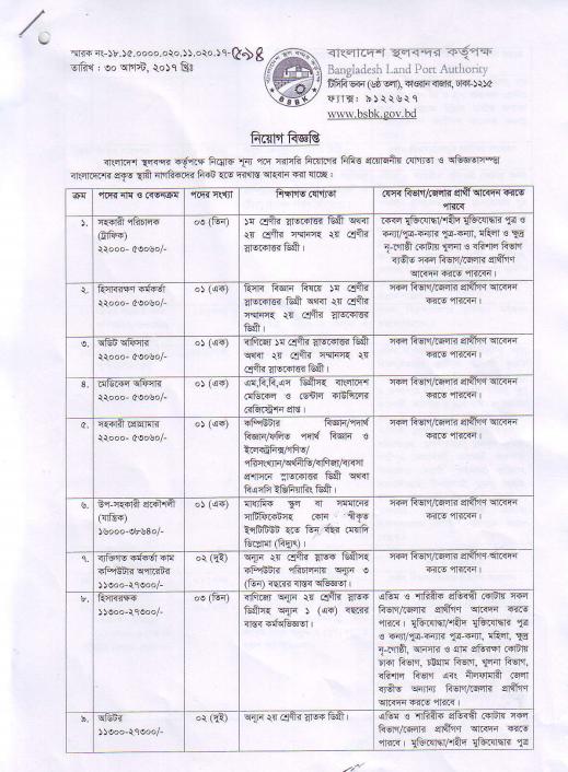 Bangladesh Land Port Authority Job Circular 2017