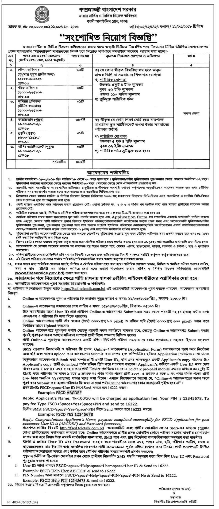 Bangladesh Fire Service Latest Job Circular