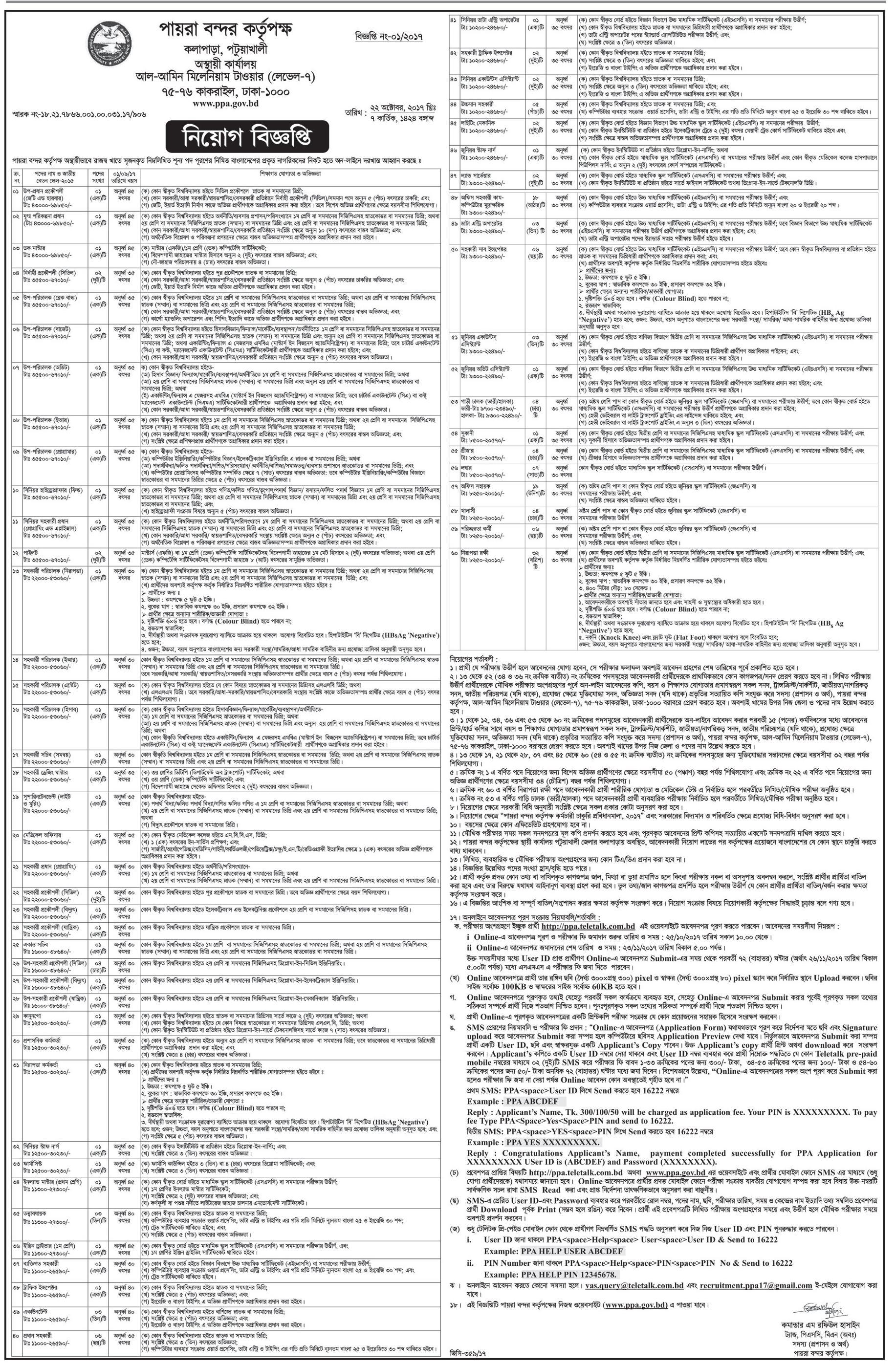 Payra Port Authority Job Circular 2017
