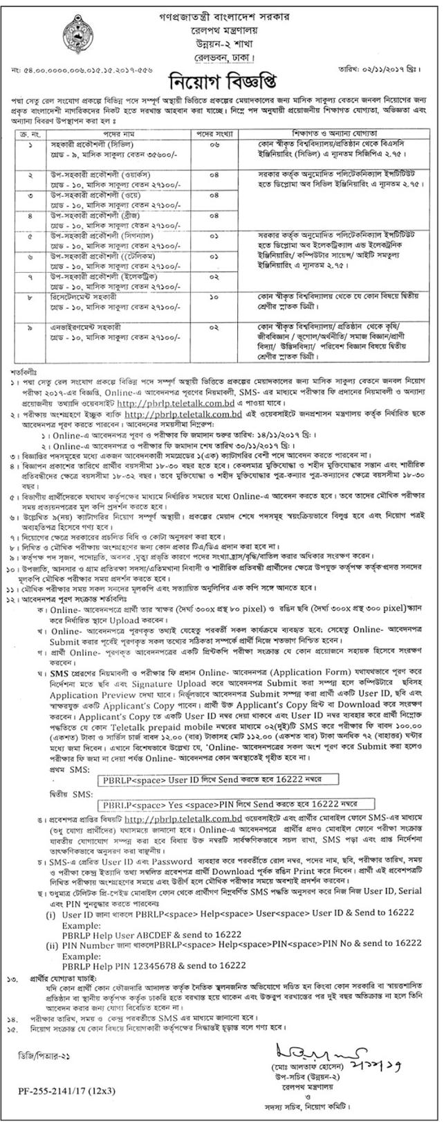 Ministry Of Railways Job Circular 2017