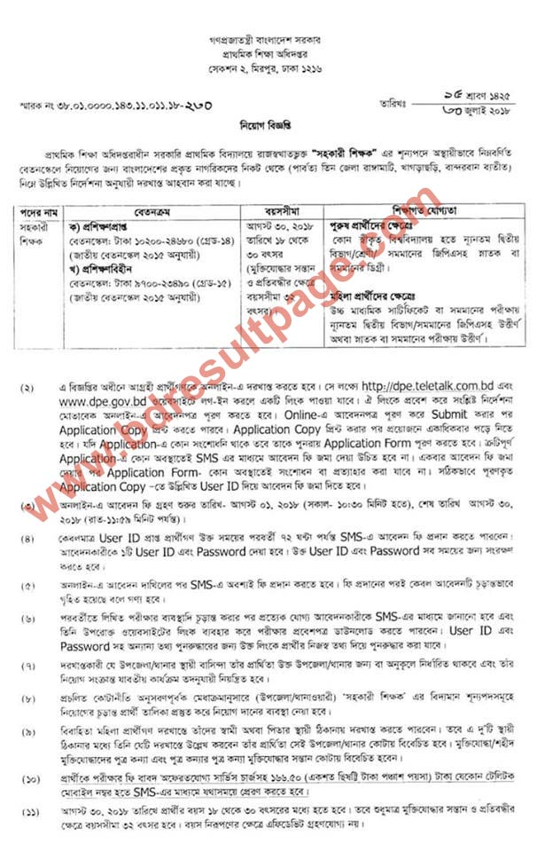 Govt Primary School Job Circular 2018 published