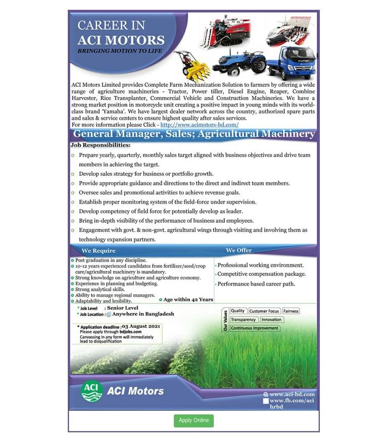ACI Limited Job Circular 2021